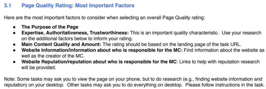 Utdrag fra Search Quality Evaluator Guidelines del 3.1