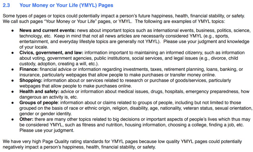 Utdrag fra Search Quality Evaluator Guidelines del 2.3
